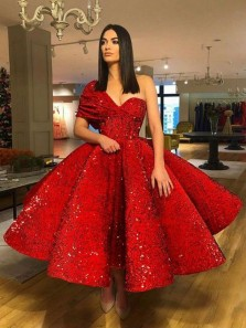 Sparkly Ball Gown One Shoulder Open Back Red Sequins Evening Party Dresses,Cocktail Dresses