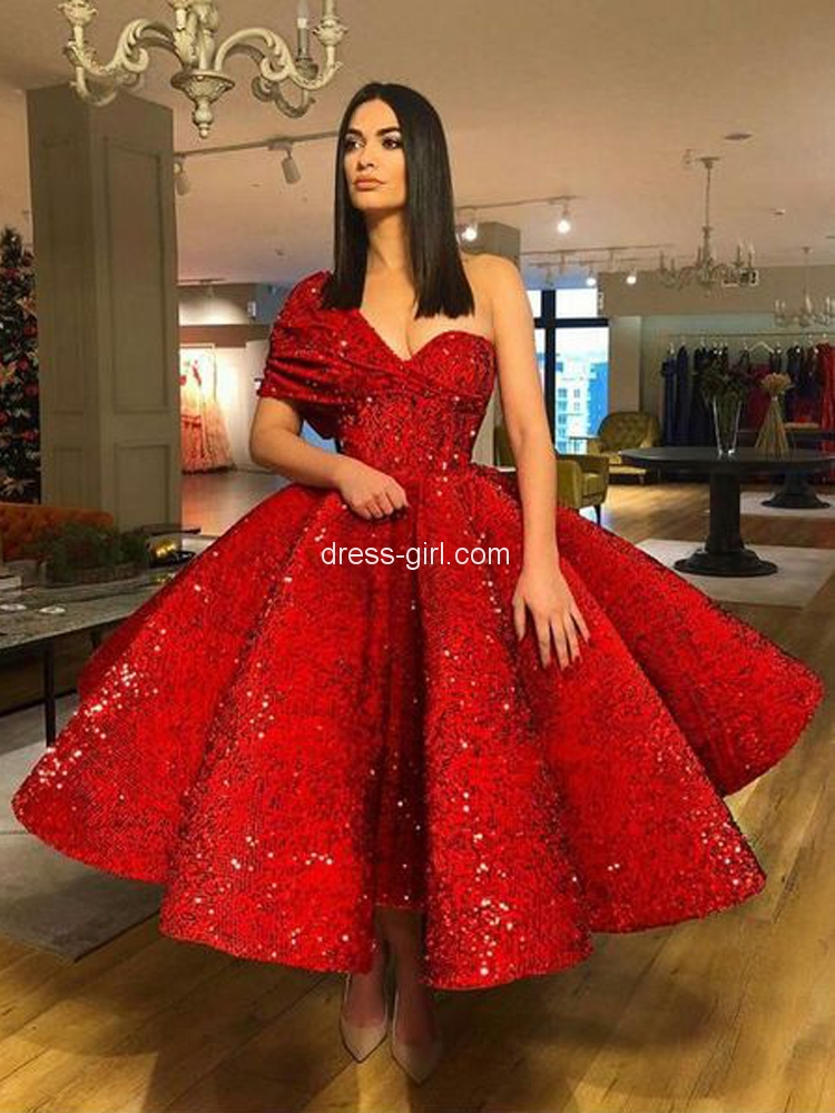 a3bcc3b8c704 Sparkly Ball Gown One Shoulder Open Back Red Sequins Evening Party Dresses,Cocktail  Dresses | Dress-girl.com