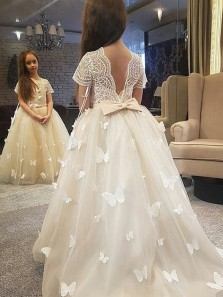 Princess A-Line Round Neck Short Sleeve V Back Ivory Tulle Flower Girls Dresses with Appliques