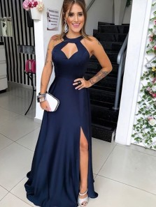 Excellent A-Line Halter Open Back Navy Blue Satin Long Prom Dresses with Split,Evening Party Dresses