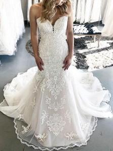 Glamorous Mermaid Sweetheart Open Back White Lace Wedding Dresses,Bridal Gown