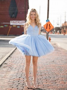 Cute A-Line V Neck Open Back Sky Blue Tulle Short Prom Dresses,Hoco Dresses Back to School Dresses