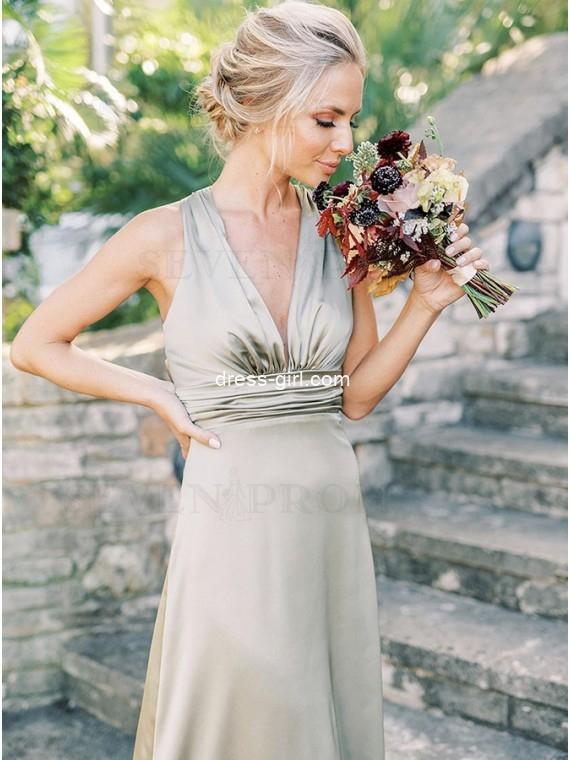 Simple A-Line V-Neck Sleeveless Long Satin Spring Bridesmaid Dress