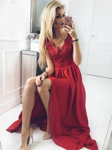 2019 Fashion A-Line V Neck Dark Red Open Back Chiffon Long Prom Dresses with Appliques,Evening Party Dresses