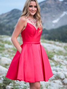 Cute A-Line Round Neck Red Satin Beaded Short Prom Dresses with Pockets,Cocktail Party Dresses Homecoming Dresses