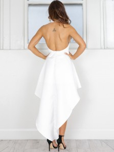 Modern A-Line Halter Backless High Low White Satin Prom Dresses,Evening Prom Dresses