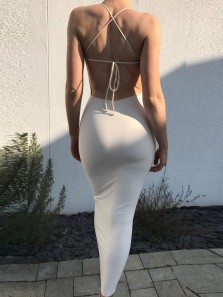 Simple Mermaid U Neck Criss Cross Back Ivory Elastic Satin Long Prom Dresses with Split Under 100,Cheap Evening Party Dresses