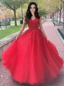 Charming A-Line V Neck Red Tulle Long Prom Dresses with Lace,Elegant Quinceanera Dresses