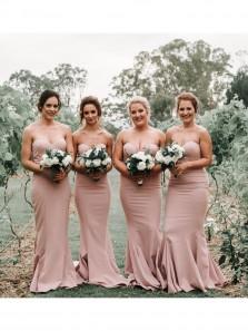 Sweetheart Mermaid Brush Long Bridesmaid Dresses Under 100
