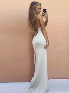 Simple Mermaid Spaghetti Straps Cross Back White Elastic Satin Long Prom Dresses,Evening Party Dresses
