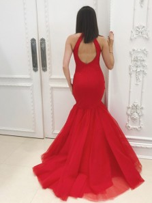 Charming Mermaid Halter Open Back Red Tulle Long Prom Dresses with Beading,Unique Evening Party Dresses