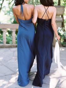 Simple Sheath Halter Backless Navy Blue Chiffon Long Bridesmaid Dresses