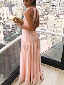 Simple A-Line Halter Open Back Pink Chiffon Long Prom Dresses,Elegant Evening Party Dresses