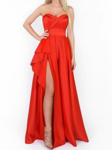 Unique A-Line Sweetheart Open Back Dark Red Satin Long Prom Dresses with Slit,Formal Party Dresses