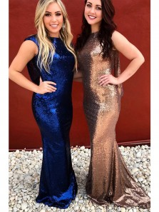 Sparkly Royal Blue/Rose Gold Sequins Mermaid Long Bridesmaid Dress