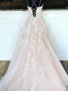 Elegant A-Line Scoop Neck Criss Cross Back Light Champagne Long Prom Dresses with White Appliques,Formal Party Dresses