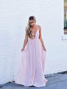 Chic A-Line Halter Deep V Neck Backless Pink Chiffon Long Prom Dresses,Evening Formal Party Dresses