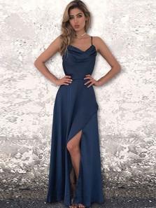 Simple A-Line Spaghetti Straps Cross Back Navy Blue Satin Long Prom Dresses with Side Split,Elegant Formal Dresses DG1025002