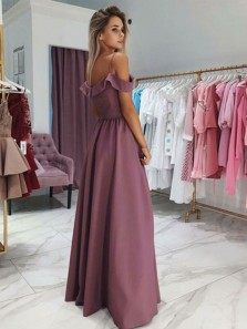 Simple A-Line Off the Shoulder Slit Sky Blue Satin Long Prom Dresses with Straps,Pink Formal Evening Party Dresses