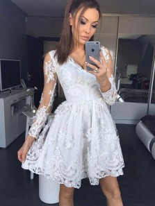 Cute A-Line V Neck Long Sleeve White Lace Short Homecoming Dresses,Back to School Dresses,White Cocktail Party Dresses 190729001