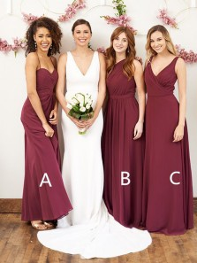 Simple A-Line Burgundy Chiffon Long Bridesmaid Dresses Under 100,Cheap Wedding Party Dresses