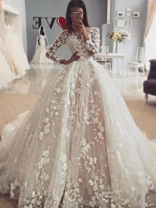 Romantic Ball Gown Long Sleeve Ivory Flowers Wedding Dresses with Train,Bridal Gown