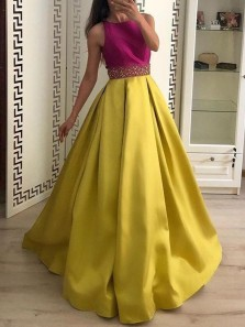 Princess A-Line Round Neck Yellow Fuchsia Satin Long Prom Dresses with Beaded,Girls Junior Graduation Gown