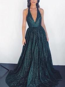 Sparkly A-Line Halter V Neck Open Back Hunter Green Sequins Long Prom Dresses with Pockets,Formal Party Dresses