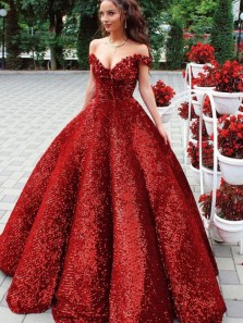 Sparkly Ball Gown Off the Shoulder Dark Red Sequins Long Prom Dresses,Glitter Formal Gown