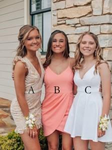 Pretty A-Line V Neck White Short Homecoming Prom Dresses Evening Party Dresses
