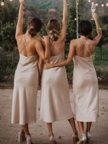 Simple Sheath Cowl Neck Cross Back Light Champagne Silk Satin Tea Length Bridesmaid Dresses Under 100