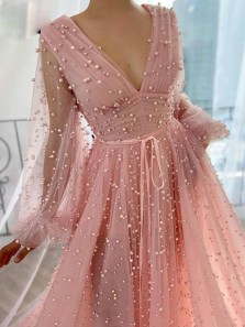Princess A-Line V Neck Long Sleeve Pink Tulle Long Prom Evening Dresses