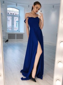Simple A-Line Off the Shoulder Open Back Royal Blue Satin Long Prom Dresses with Side Split,Elegant Formal party Dresses