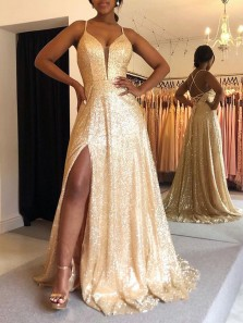 Sparkly A-Line V Neck Cross Back Gold Sequins Long Prom Evening Dresses with High Slit