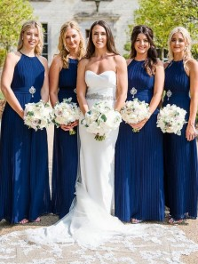 Elegant A-Line Halter Open Back Navy Blue Chiffon Long Bridesmaid Dresses with Pleated