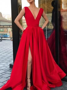 Elegant A-Line V Neck Open Back Red Satin Long Prom Dresses with Side Split,Simple Evening Party Dresses with Pockets