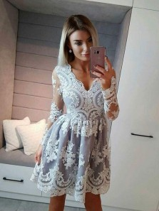 Cute A-Line V Neck Long Sleeve Grey Short Prom Dresses,Cocktail Party Dresses