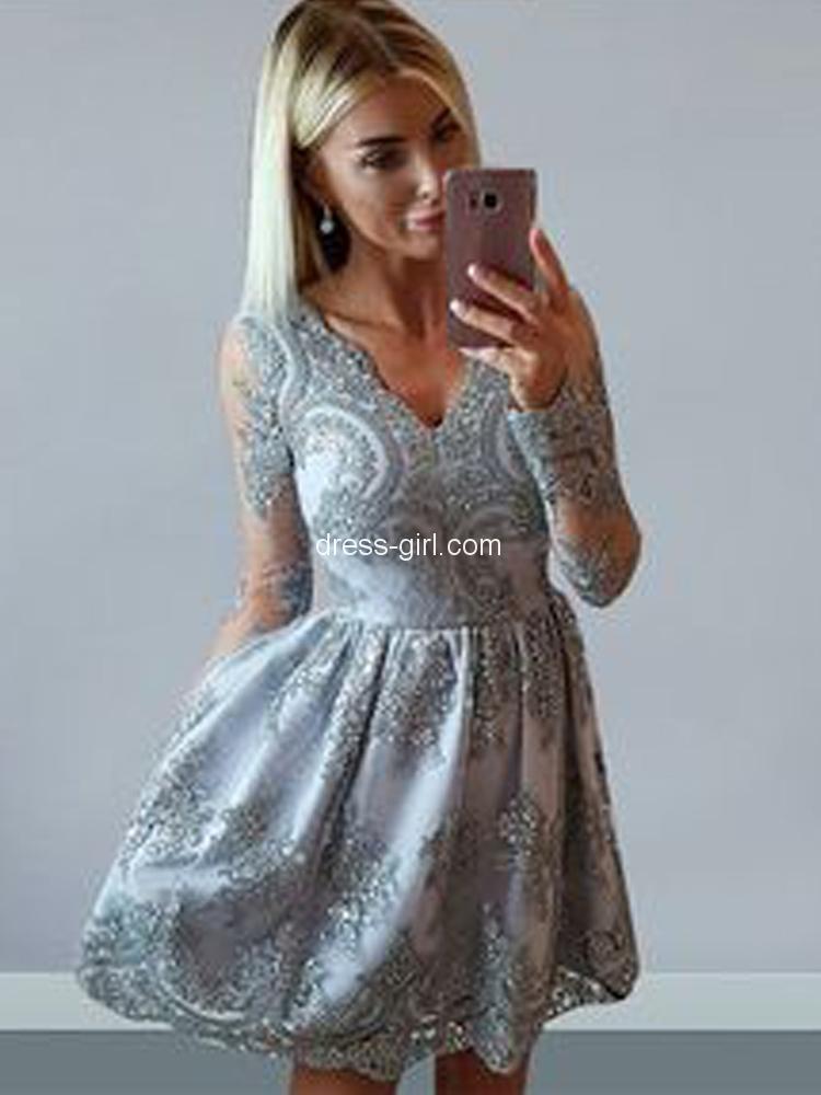 b912246764 Cute A-Line V Neck Long Sleeve Grey Short Prom Dresses