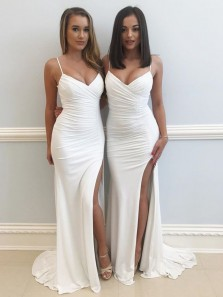 Stunning Sheath V Neck Spaghetti Straps Open Back White Elastic Satin Long Prom Dresses with Split,Evening Party Dresses