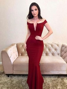 Sexy Mermaid Off the Shoulder Open Back Dark Red Elastic Satin Long Prom Dresses,Formal Party Dresses