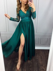 Unique A-Line V Neck Long Sleeve Open Back Green Long Prom Dresses with Side Split,Sexy Evening Dresses