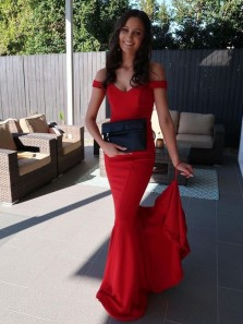 Modest Off the Shoulder Red Elastic Satin Mermaid Long Prom Dresses,Charming Evening Party Dresses DG0919001