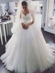 Romantic Ball Gown Sweetheart Spaghetti Straps Open Back White Tulle Wedding Dresses with Appliques