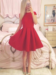 Cute A-Line Round Neck Cap Sleeve Red Satin Short Homecoming Dresses,Formal Party Dresses