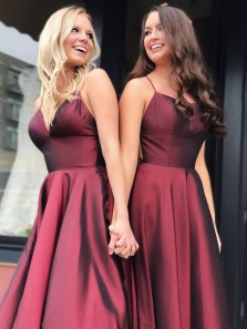 Charming A-Line Scoop Neck Open Back Burgundy Satin Long Prom Dresses,Evening Party Dresses