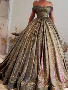 Ball Gown Off the Shoulder Open Back Gold Sequins Long Prom Dresses with Pockets,Girls Junior Graduation Gown,Quinceanera Dresses