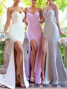 Mermaid Spaghetti Straps Open Back Lilac Elastic Satin Long Bridesmaid Dresses with Side Split