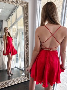 Simple A-Line Scoop Neck Cross Back Red Satin Short Homecoming Dresses with Split,Cheap Hoco Dresses Under 100