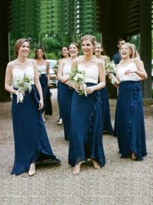Charming Sheath Spaghetti Straps White and Navy Chiffon Floor Length Long Bridesmaid Dresses with Ruffles