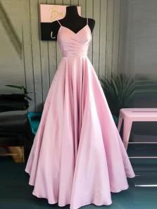 Simple A-Line V Neck Spaghetti Straps Open Back Pink Satin Long Prom Dresses,Elegant Formal Party Dresses